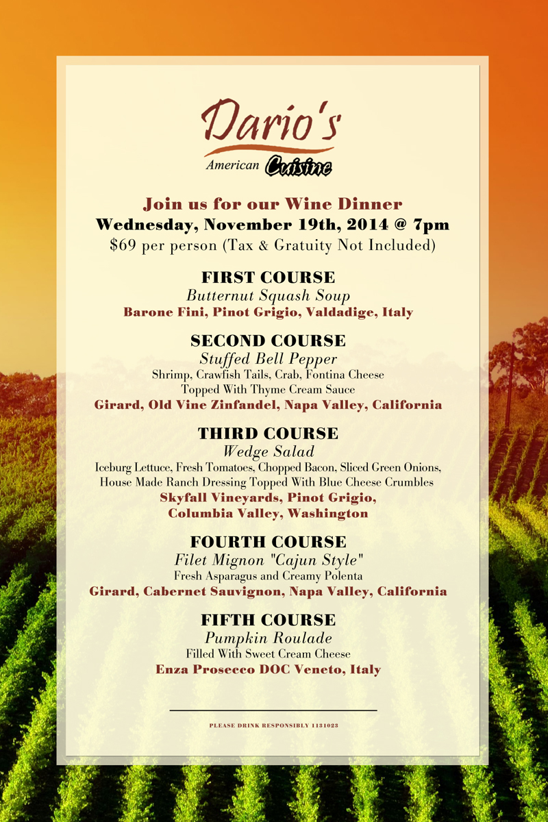 Join us for our November 19th Wine Dinner at Dario's!!