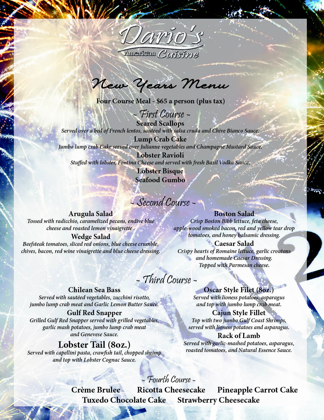 Ring in the New Year at Dario's Steakhouse & Seafood!!