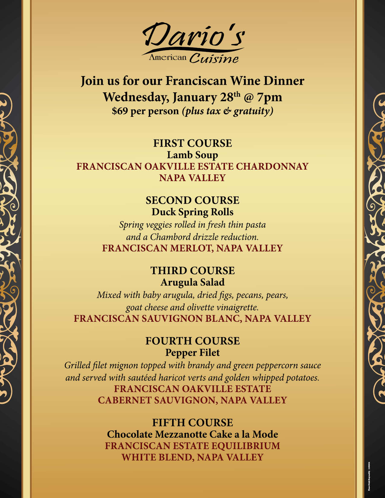 Save the Date for our January Wine Dinner!