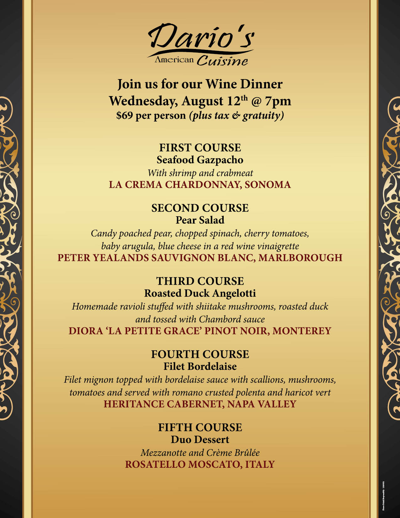 Join us for our August Wine Dinner at Dario's!!
