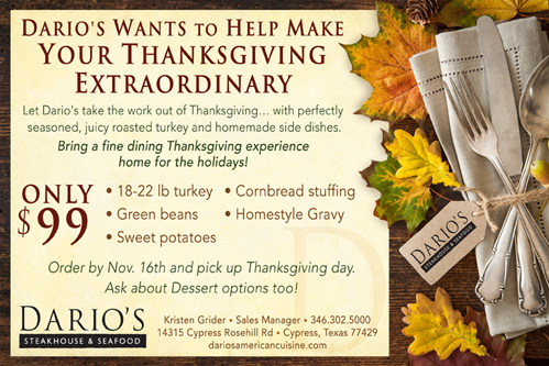 Make Your Thanksgiving Extraordinary with Dario's $99 Meal!