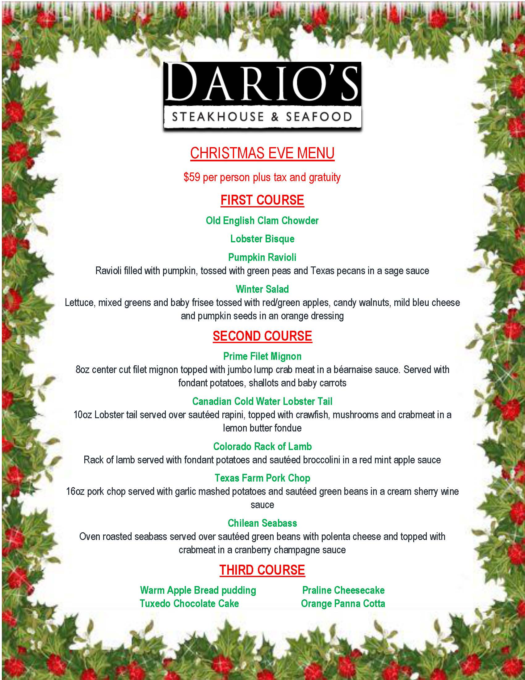 christmas-eve-menu - Dario\'s Steakhouse & Seafood - Cypress Texas