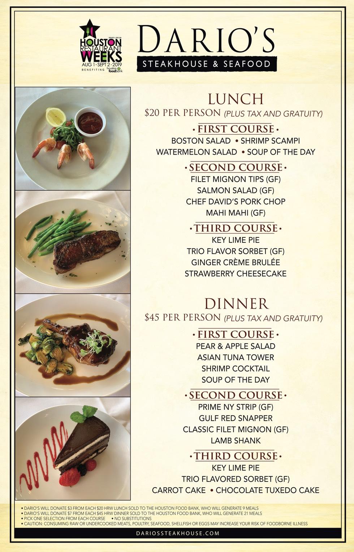 Houston Restaurant Weeks at Dario's