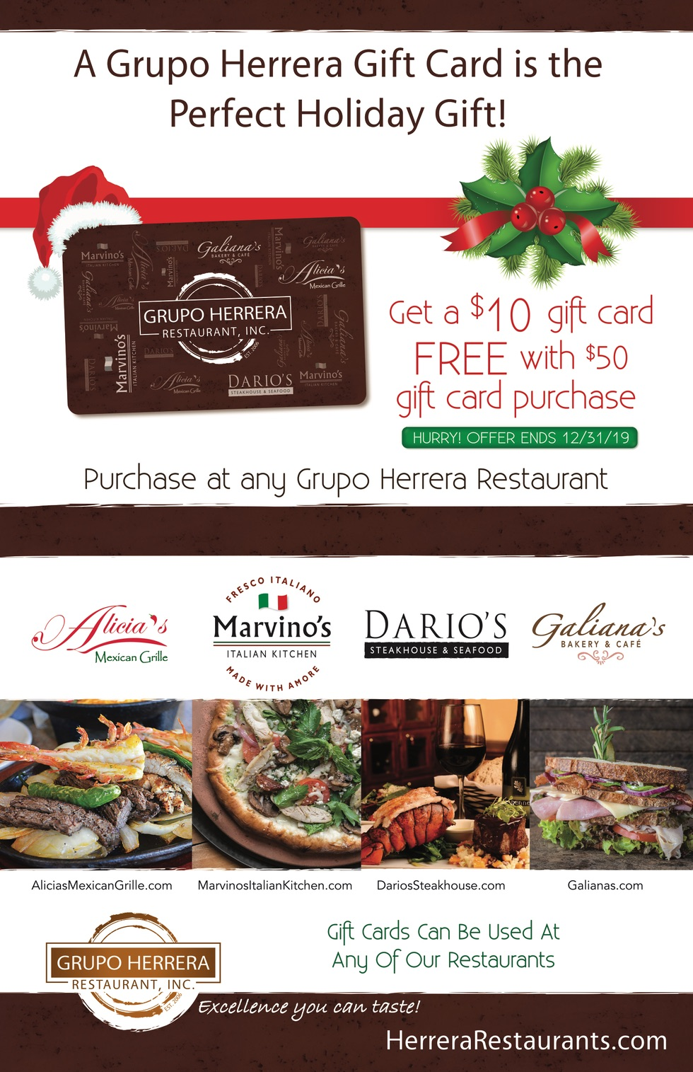 A Groupo Herrera Gift Card is the Perfect Holiday Gift!